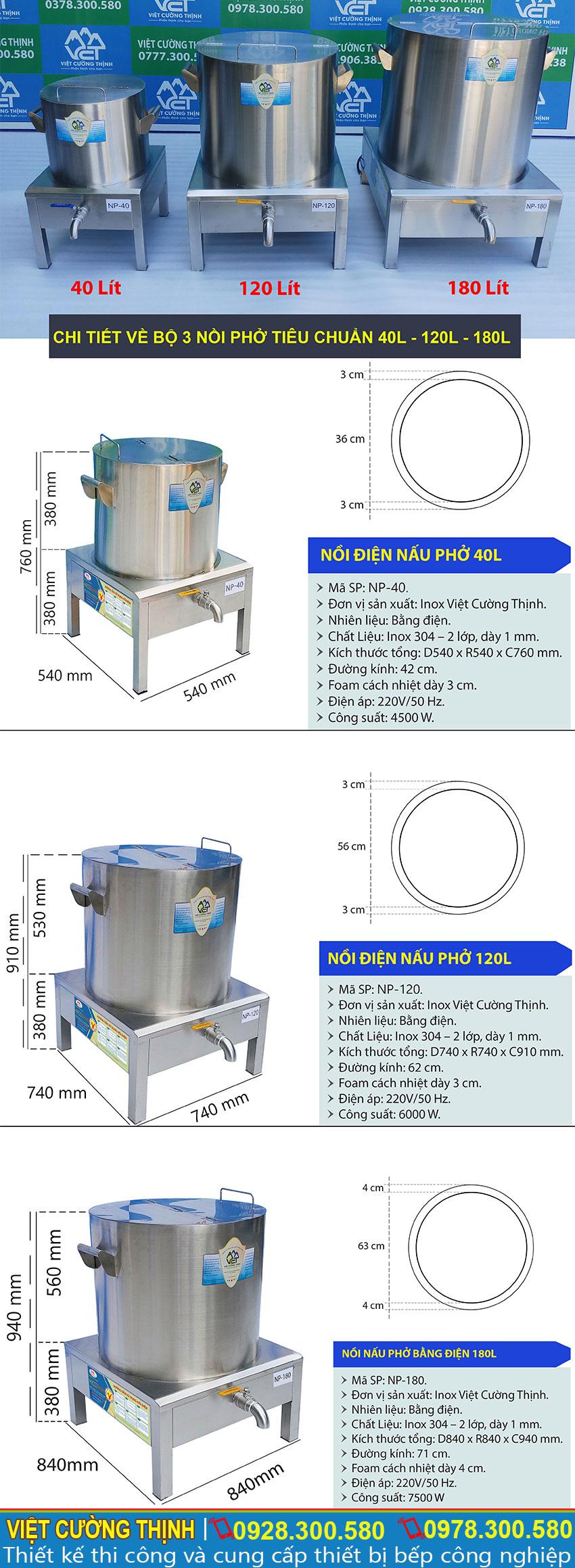 Thông số kỹ thuật Bộ 3 Nồi Phở Điện Công Nghiệp 40L-120L-180L