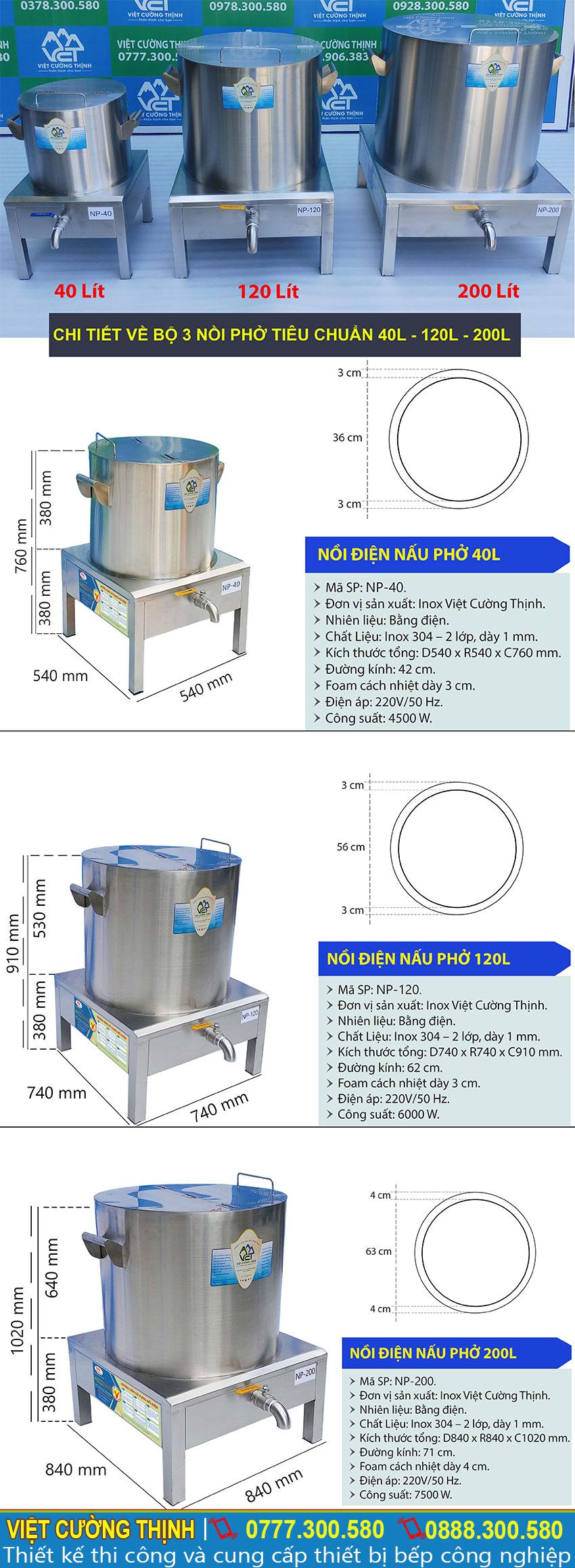 Thông số kỹ thuật Bộ 3 Nồi Nấu Phở Bằng Điện 40L – 120L – 200L