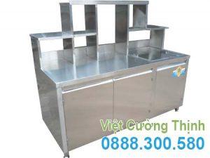 Quầy Bar Pha Chế Trà Sữa Inox QB-02