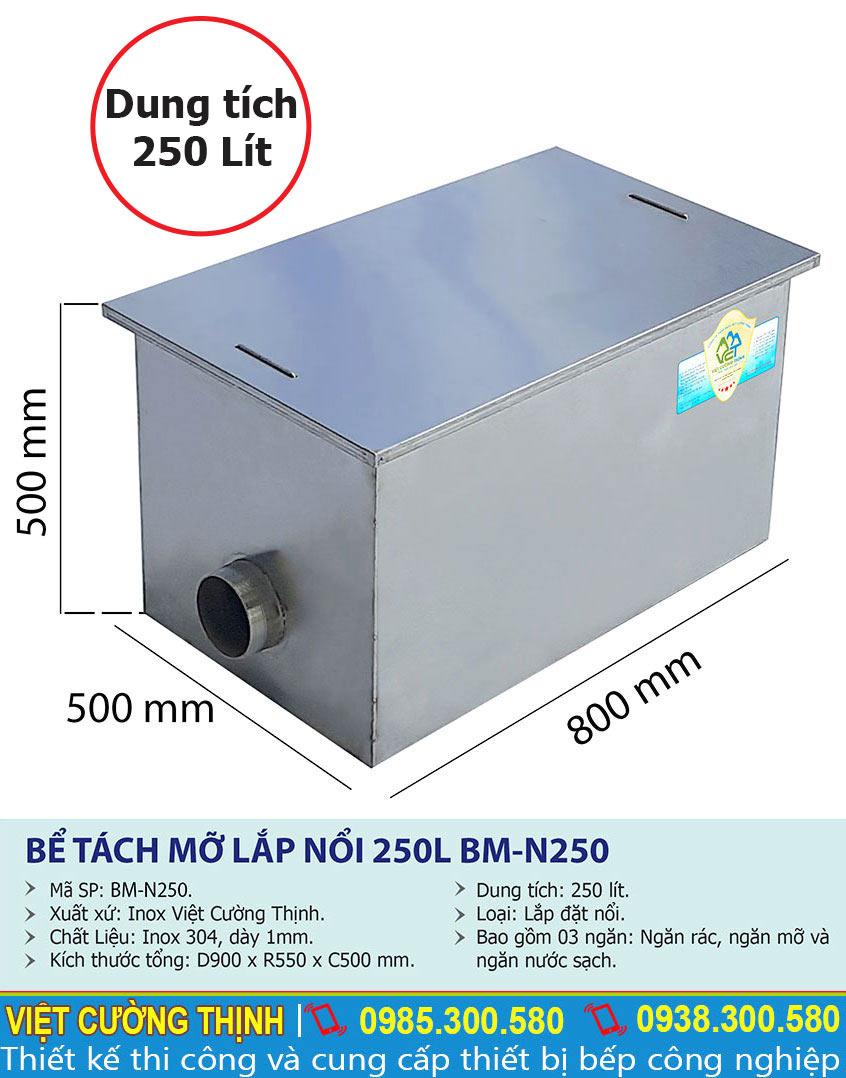 Tỷ lệ kích thước bể tách mỡ 250 lít