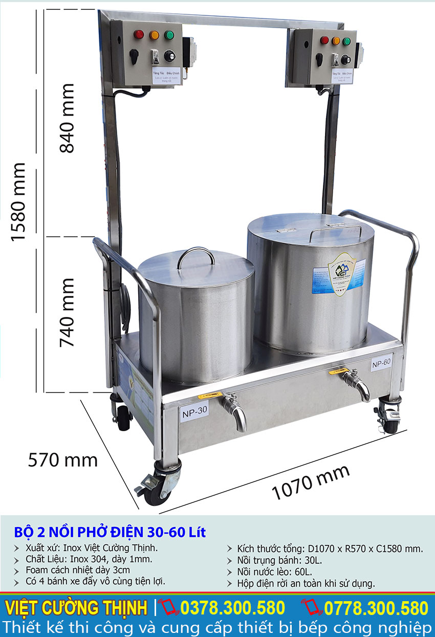 Thông số kỹ thuật Bộ 2 nồi phở điện 30-60L