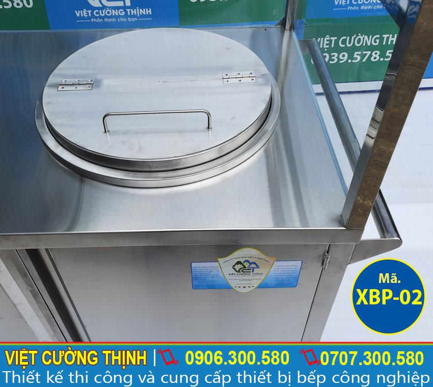 Tủ xe bán phở hủ tiếu inox tích hợp nồi nấu nước lèo bằng điện giá tốt.