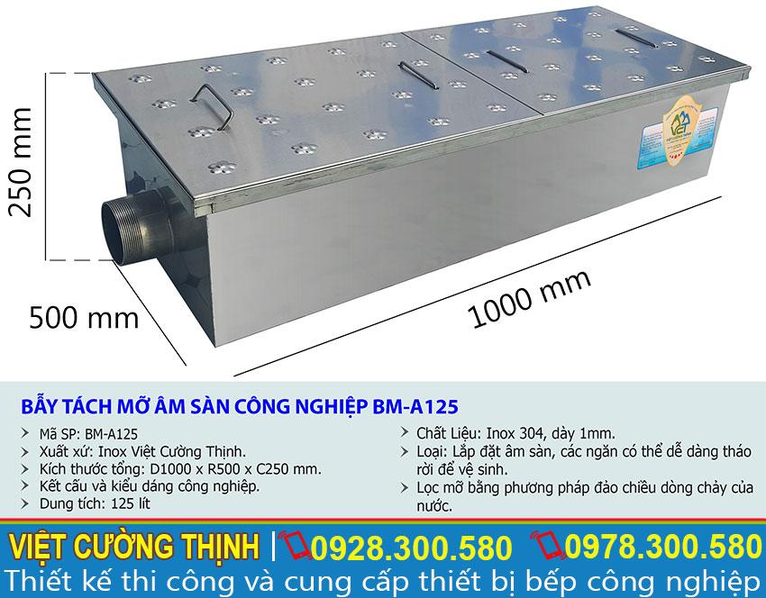 Thông số kỹ thuật bẫy tách mỡ âm sàn công nghiệp BM-A125