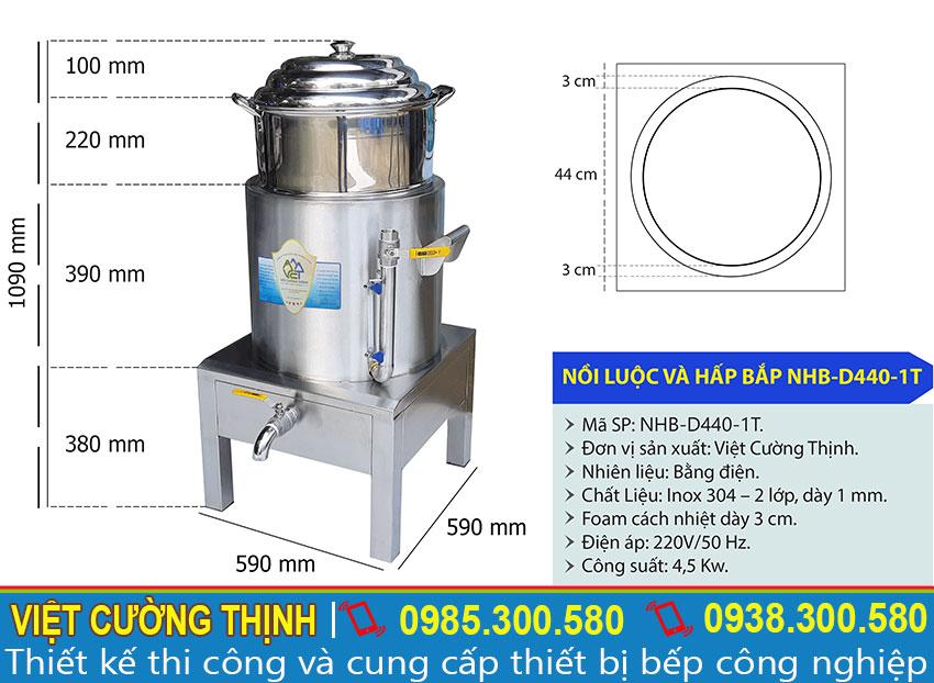 Thông số kỹ thuật nồi hấp bắp bằng điện 1 tầng D440-1T