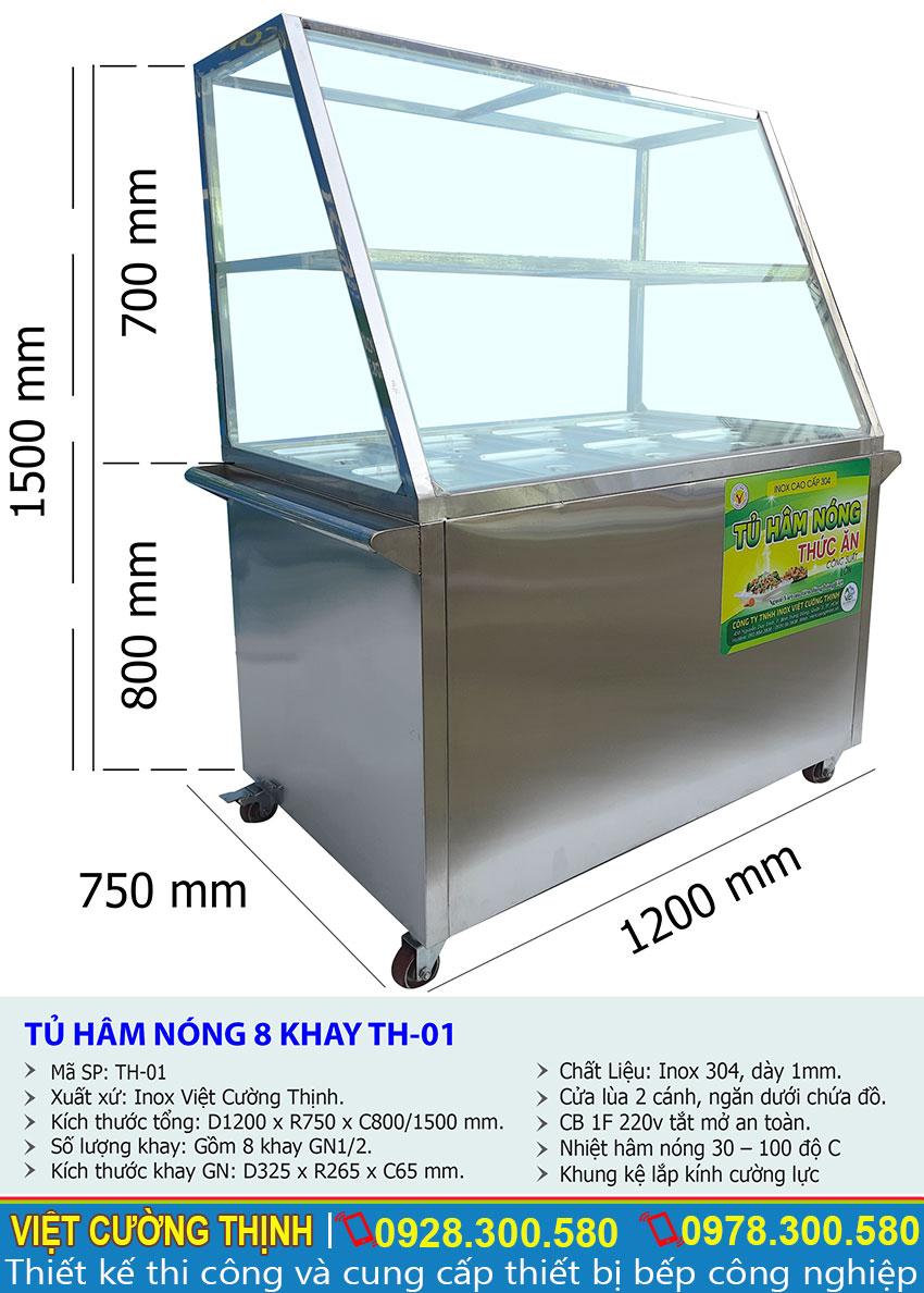 Thông số kỹ thuật Tủ hâm nóng thức ăn 8 khay TH-01