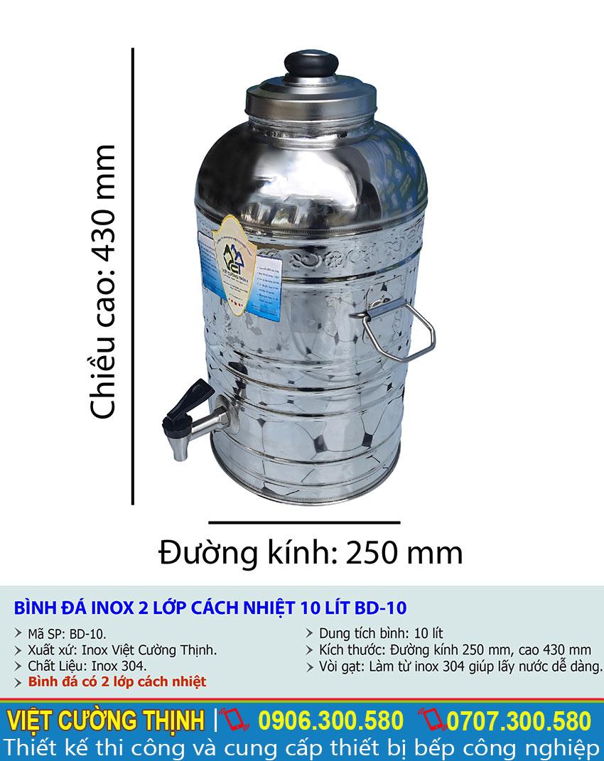 Tỷ lệ kích thước bình đựng nước đá 10L