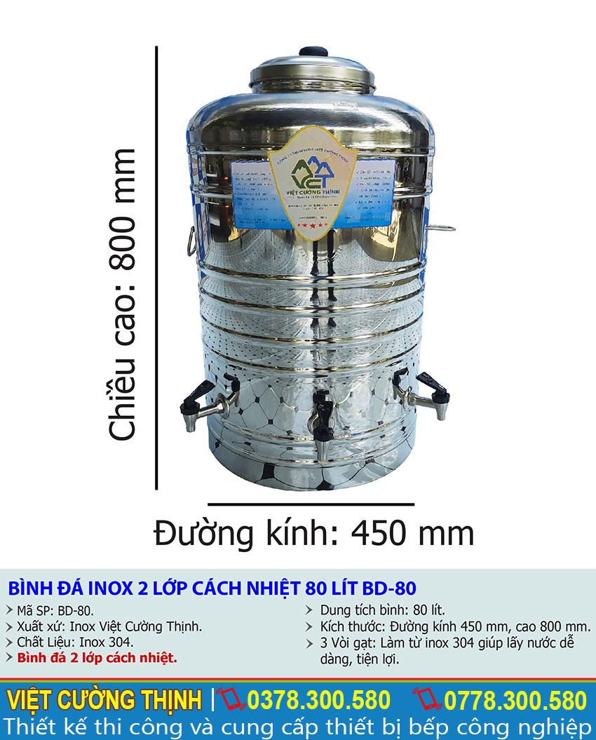 Tỷ lệ kích thước bình đựng nước đá inox 2 lớp 80l cps vòi gạt