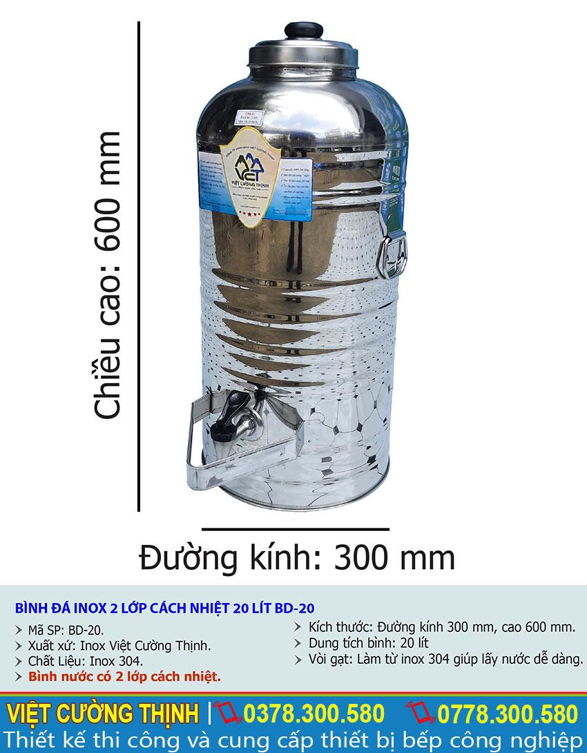 Tỷ lệ kích thước bình đựng nước đá inox 20 lít có vòi gạt