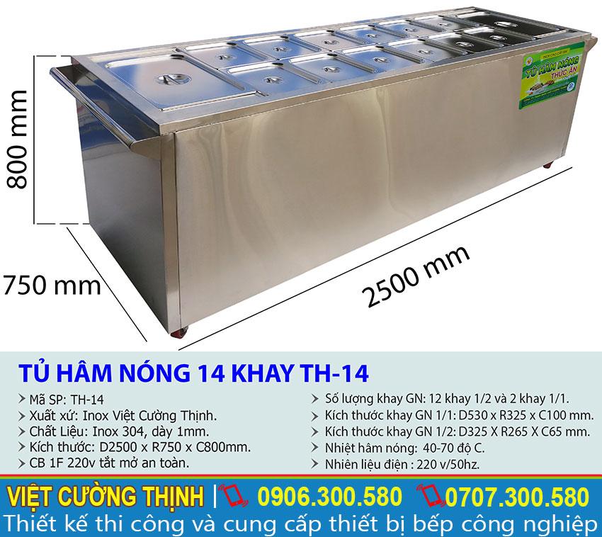 Tỷ lệ kích thước tủ hâm nóng 14 khay TH-14