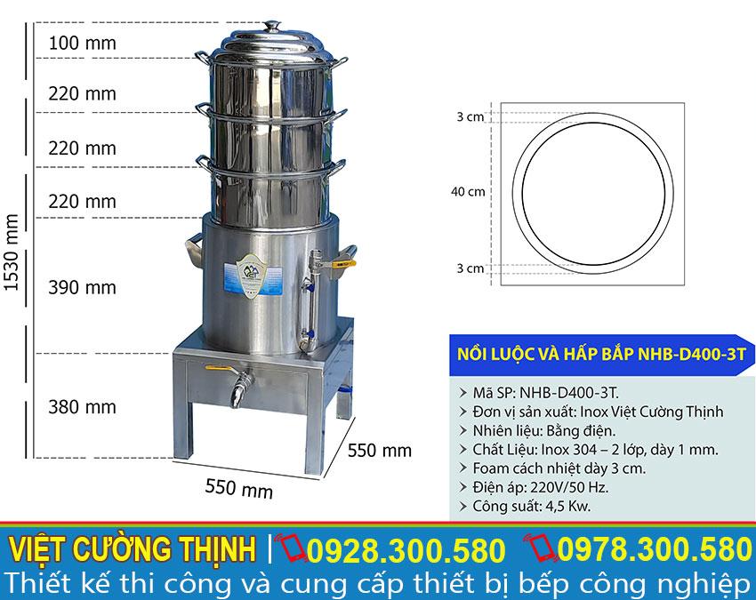 Thông số kỹ thuật Nồi luộc bắp bằng điện 4 tầng D400-3T