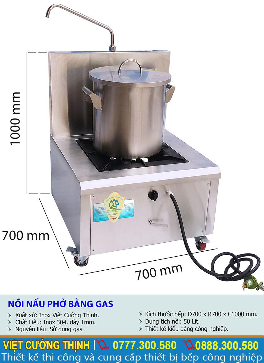 Thông số kỹ thuật Nồi nấu phở bằng gas