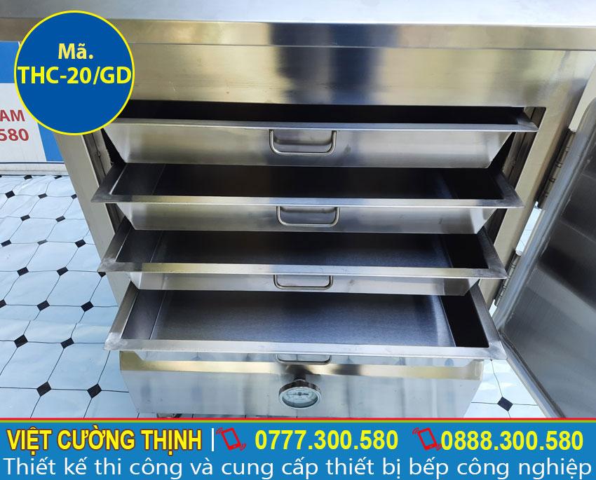 Góc trong tủ hấp cơm 20kg sử dụng điện và gas