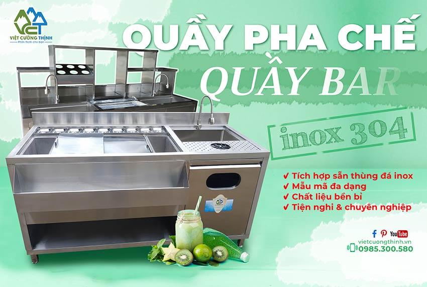 Quầy pha chế inox, quầy bar trà sữa inox 304 Việt Cường Thịnh