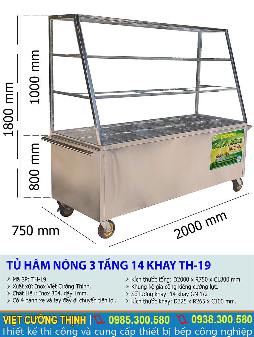 Thông số kỹ thuật Tủ hâm nóng thức ăn 3 tầng 14 khay TH-19