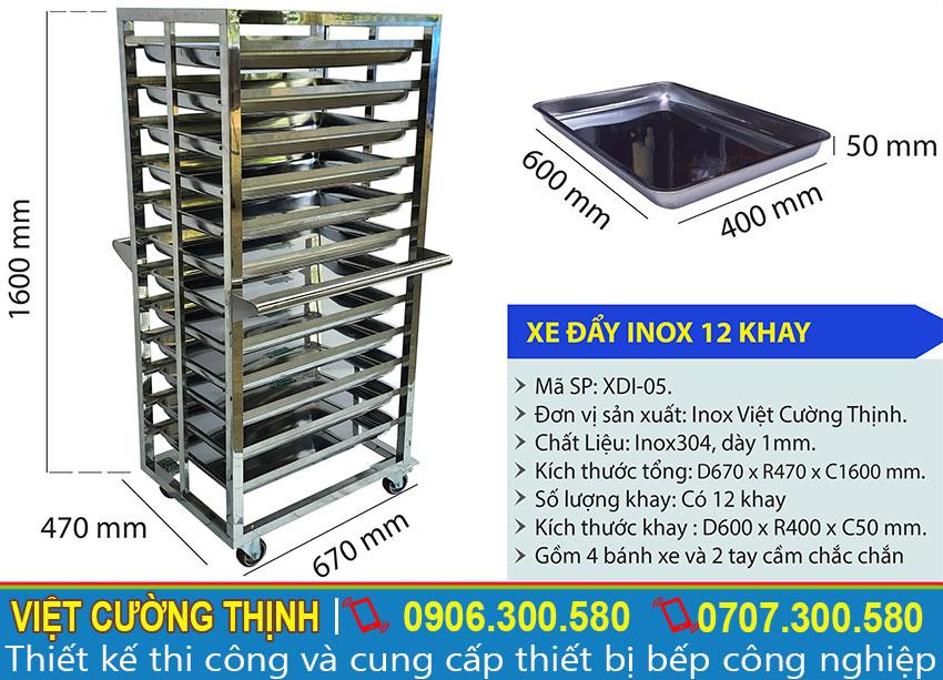 Thông số kỹ thuật xe đẩy inox 12 khay-XDI-05