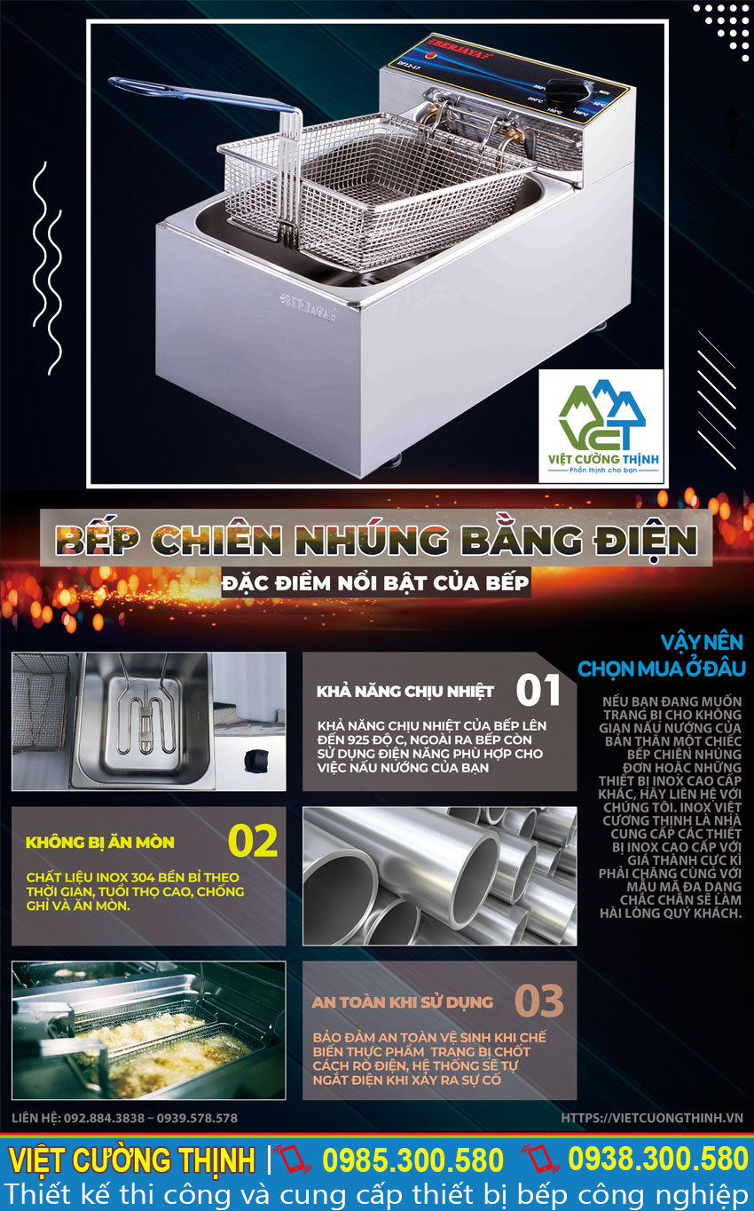 Báo giá bếp chiên nhúng bằng điện chính hãng Berjaya tại đơn vị Việt Cường Thịnh.