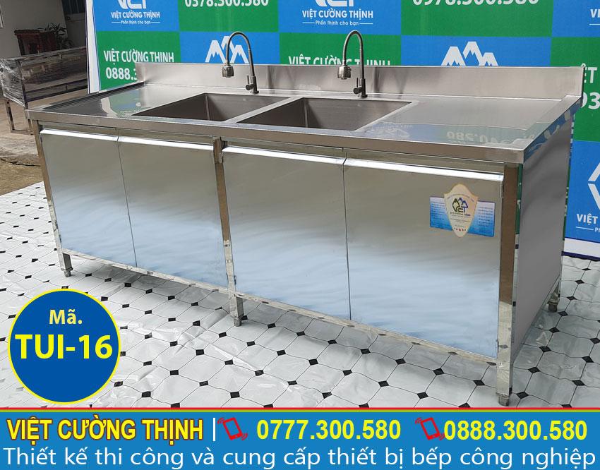 Góc trái tủ inox 304 có bồn rửa