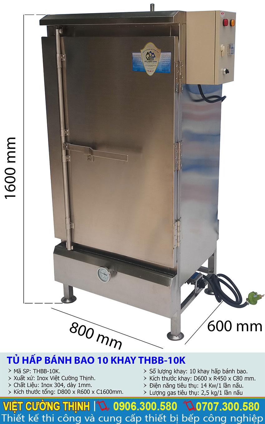 Thông số kỹ thuật tủ hấp bánh bao 10 khay THBB-10K
