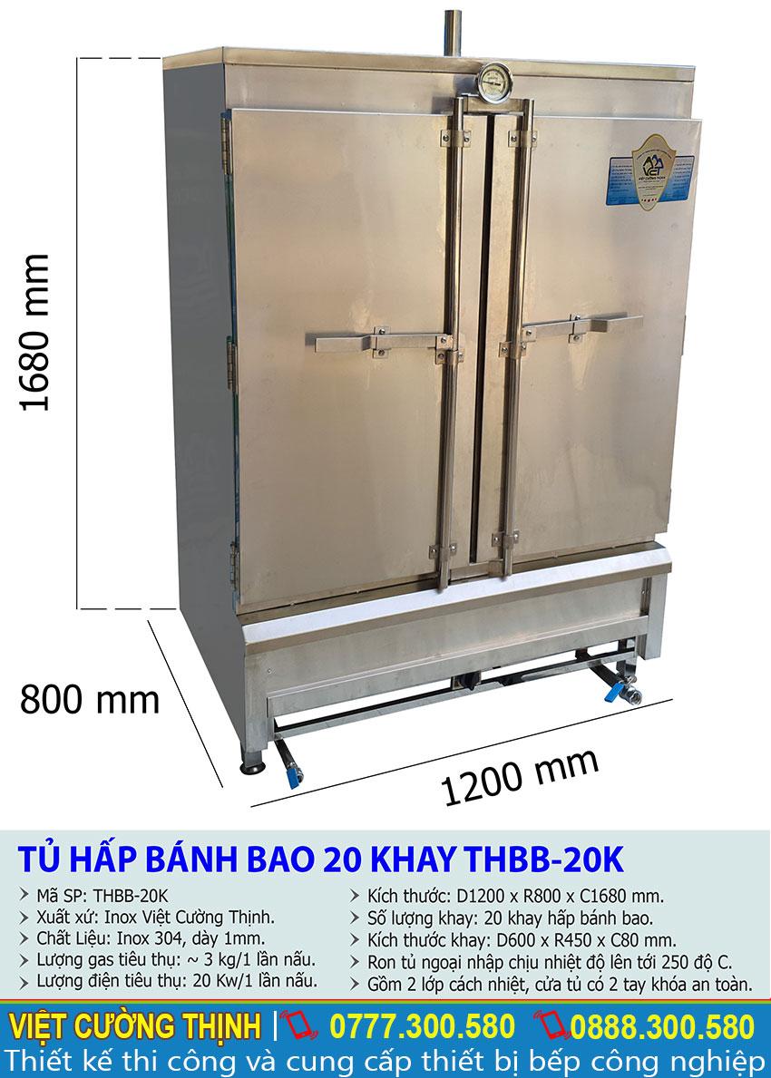 Thông số kỹ thuật tủ hấp bánh bao 20 khay THBB-20K