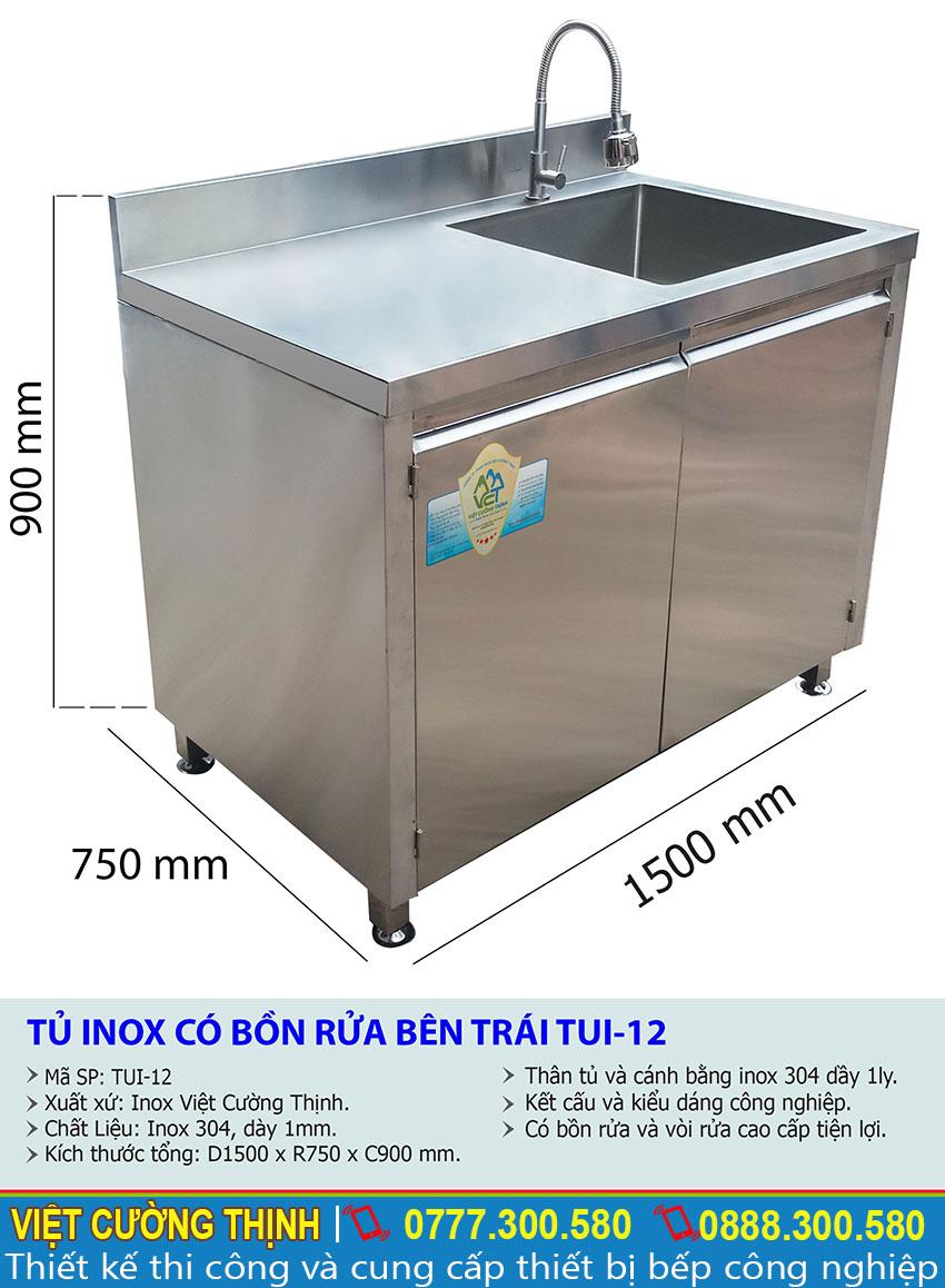 Thông số số kỹ thuật tủ inox có bồn rửa bên trái TUI-12
