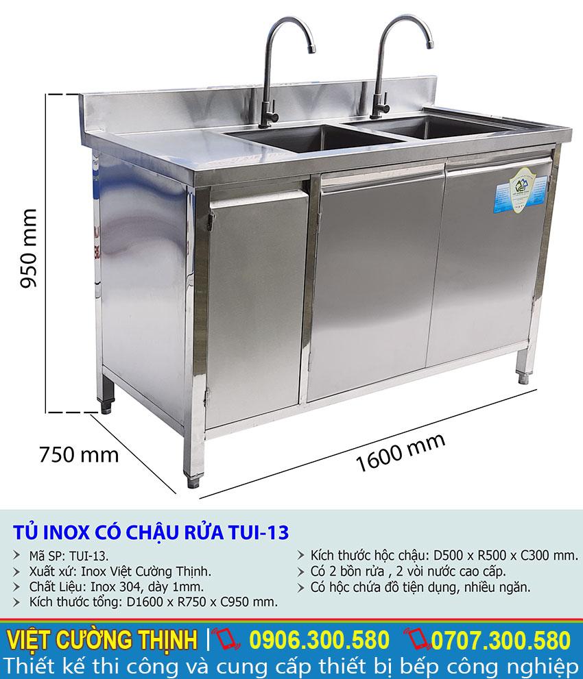 Thông số kỹ thuật Tủ inox có chậu rửa TUI-13