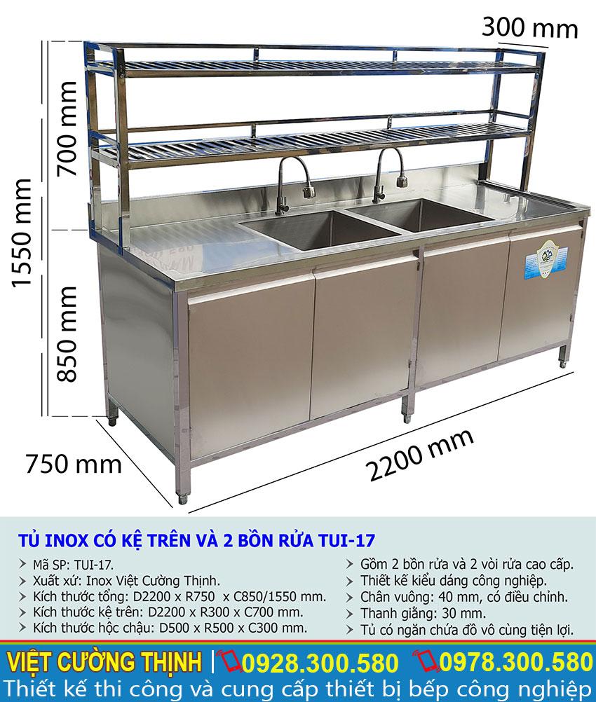 Kích thước tủ bếp inox có bồn rửa chén bát và kệ trên