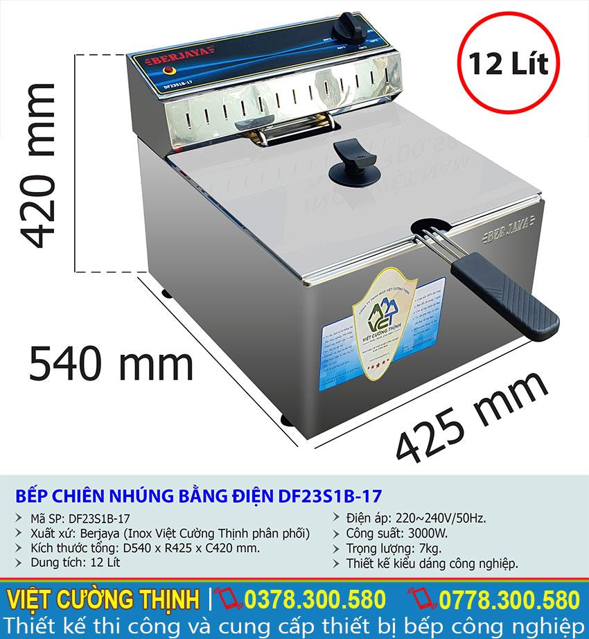 Tỷ lệ kích thước bếp chiên nhúng bằng điện df23s1b-17