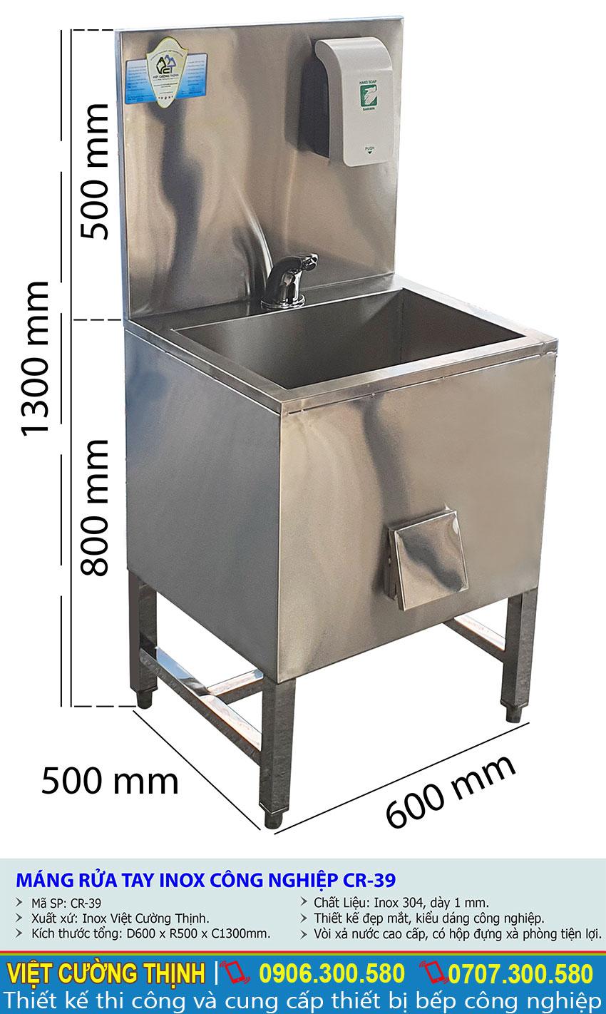 Tỷ lệ kích thước bồn rửa tay inox công nghiệp CR-39