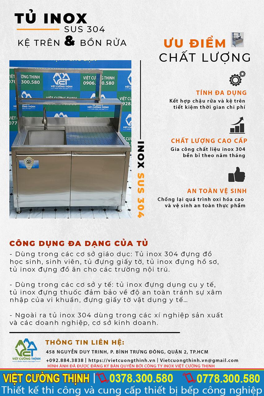 Ưu điểm của tủ inox SUS 304 có kệ trên và bồn rửa