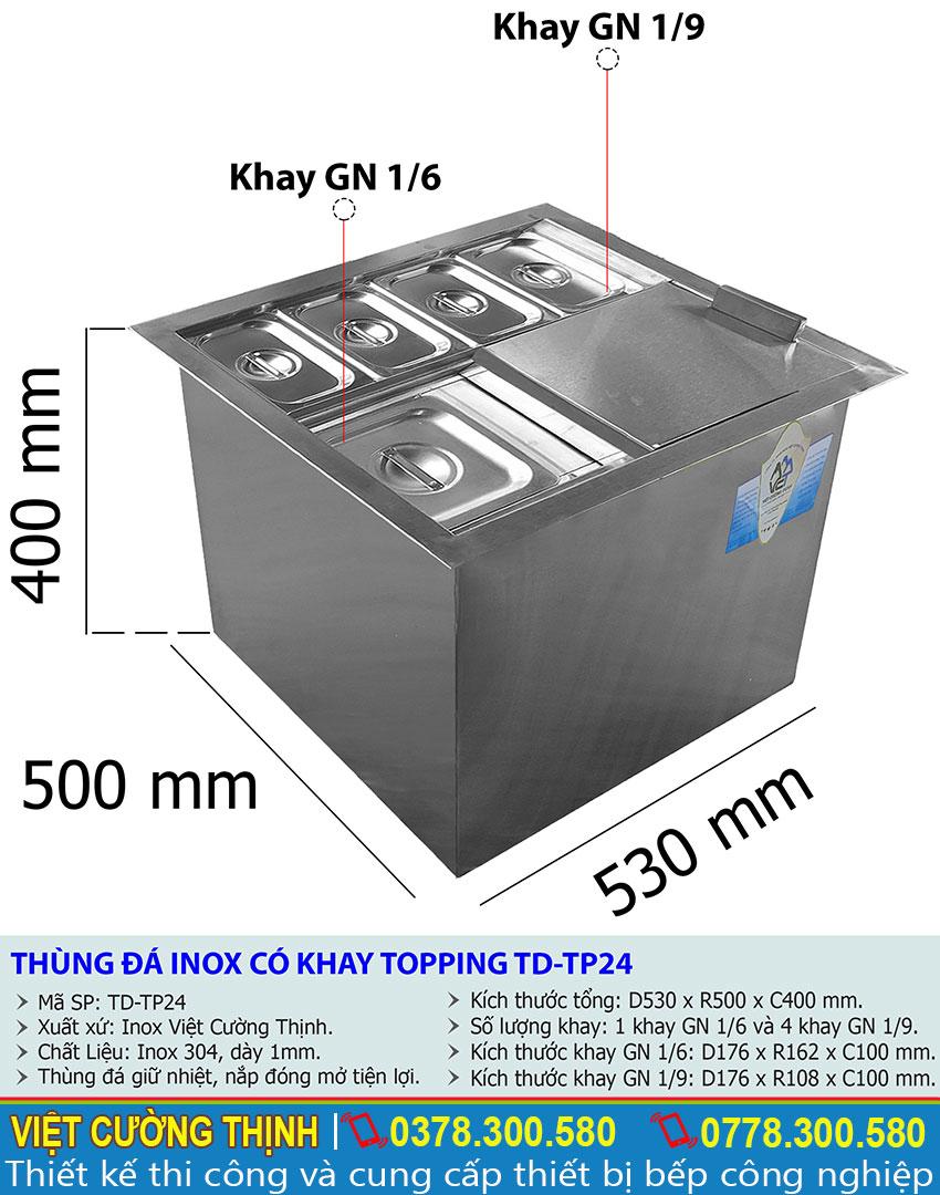Tỷ lệ kích thước Thùng chứa đá có khay topping TD-TP24