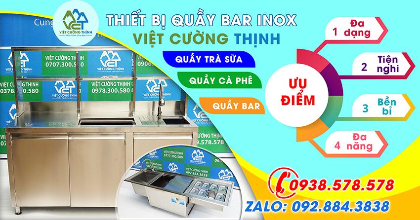 Quầy bar inox, quầy pha chế trà sữa inox của Việt Cường Thịnh có nhiều ưu điểm vượt trội