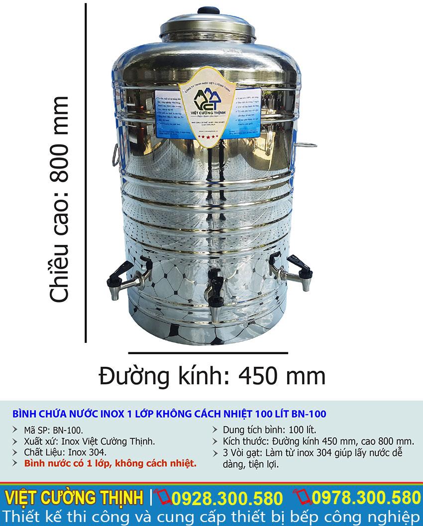 Tỷ lệ kích thước bình đựng nước inox 100 lít không cách nhiệt có 3 vòi gạt