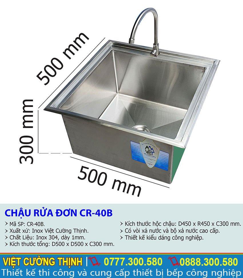 Tỷ lệ kích thước chậu rửa đơn âm bàn CR-40B