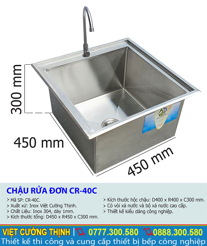 Tỷ lệ kích thước chậu rửa đơn CR-40C