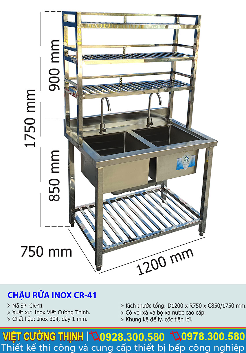 Tỷ lệ kích thước chậu rửa inox CR-41